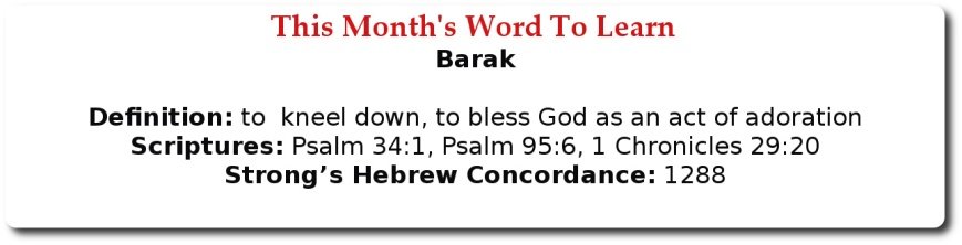This Month Word To Learn - Barak